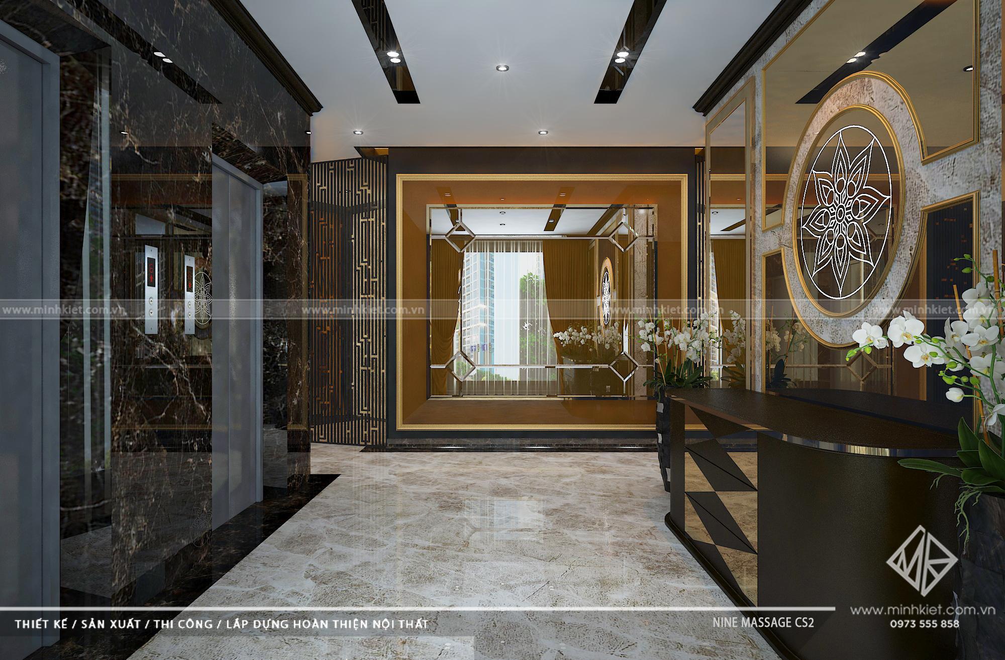 Thiết kế sảnh massage Nine cơ sở 2 - Mẫu thiết kế Spa Massage Luxury